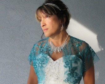 Beautiful Embroidered and Beaded Teal Lace Shrug Bolero Bridal, Bridesmaids, Formal, Party