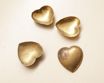 PROMO 100 pieces of  vintage brass bowl saucer cup 9mm across for metalwork soldering heart shape