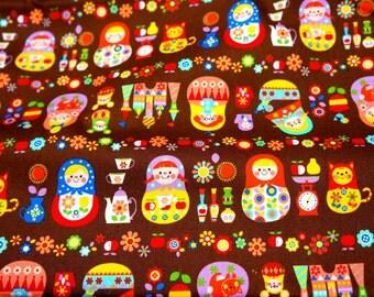 Matryoshka Russian dolls fabric