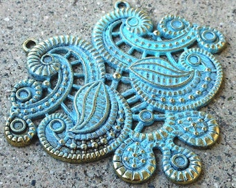 large ethnic necklace pendant, VERDIGRIS teal hand altered jewelry focal, jewelry making supplies 1pc