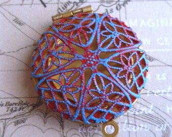 brass filigree locket CORAL red and blue hand painted jewelry making finding 1 pc