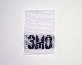 Size 3mo (Three Months) Woven Clothing Size Tag (Package of 50)