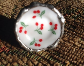 Miniature porcelain plate ring with cherries