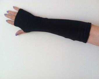 Long Velvet Stretch Fingerless Gloves Black. One Size Fits All