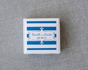 Green and Navy Tart Box - Wedding Favor Box - Candy Box - Camille and Landon