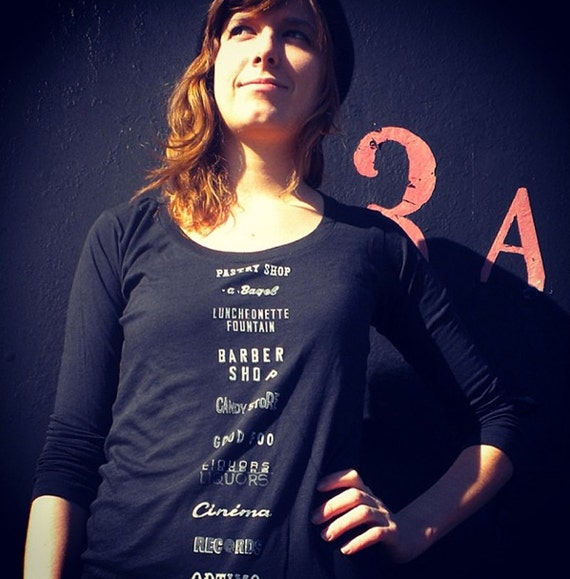 Woman's NYC Storefront Signs Shirt, in Deep Scoop Neck Black