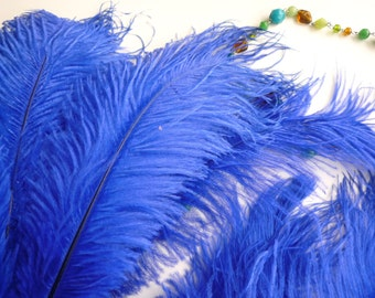 VOGUE OSTRICH PLUMES , Cobalt, Electric Blue, 1 piece  / 508