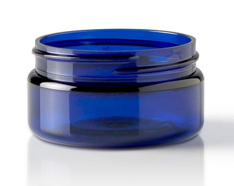 Plastic Jar with Black Lid - Cobalt Blue 120ml(4oz) - Perfect for Salves, Body Butters and Lotions