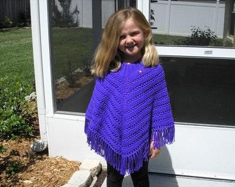Knitted Poncho, Girls Large - Iris