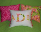 New Made To Order MONOGRAM Pillow made with Lilly Pulitzer La Te Dah fabric