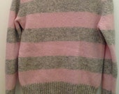 Vintage Wool sweater sz small ski stripe pink grey jumper 80s cute retro
