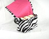 Coupon Holder Mega Large Zebra Fabric Pink Lining