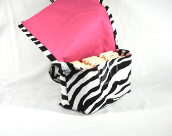 Coupon Holder Mega Large Zebra Fabric Pink Lining