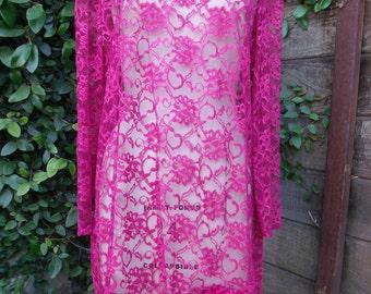 Vintage Lace Dress. Burgundy Lace Dress 80's Sheer. Boho Gypsy Dress