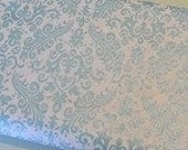"SHORT PIECE Hollywood Sparkle Aqua Damask Fabric by Riley Blake Design - 17"" x  44"""