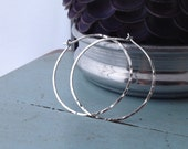 Silver Circle Hoops - Large (H02SS-L) Hammered, Light weight, Minimalist - Handmade wire jewelry by cristysjewelry on etsy