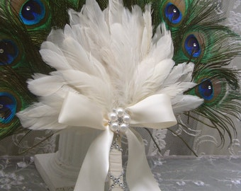 Swarovski Crystal Peacock Feather bridesmaid fan bouquet with IVORY accents