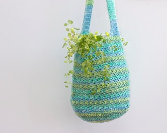 Market Tote Bag, Turquoise and Green Hand Crocheted Farmer's Market Bag, Slouchy Bag, Book Bag