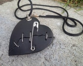 Wired Broken Heart with Safety Pin in black with Pirate Map on back