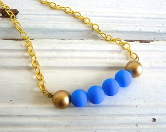 Neon Blue and Gold Necklace Neon Jewelry