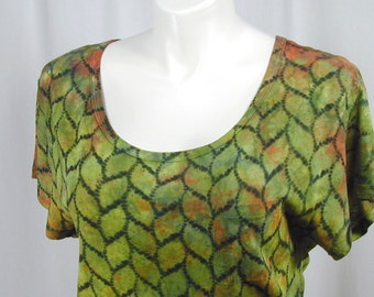 Twisted Ribbons in Pistachio, Persimmon, and Black. A Hand Dyed Atomic Lace MicroModal Slub Scoop Neck Cropped Top (xl, extra large)