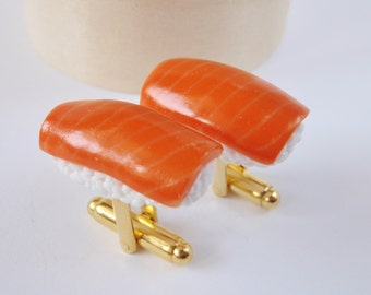 Sushi Cufflinks - Salmon Nigiri Sushi - Miniature Food Jewelry Collectable - Schickie Mickie Original 100% Handmade