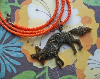 BRONZE FOX PENDANT on Orange 20 Inch Seed Bead Necklace/Fox Pendant/Fox Necklace/Animal Pendant/Orange Beaded Necklace
