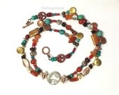 "22"" Choker Length Necklace Silver Plated Focal Bead Multistrand Rainbow color eclectic Mix  Boho -- MALA-CHOKER-2"
