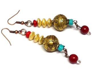 Long 80mm Dangle Drops Brass Turquoise Coral Light Weight Earrings  -- 3.25 inches -- ER-BEAD-9