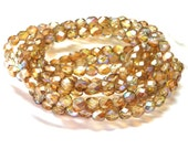 Sale! - 30 Czech Glass 6mm Amber Picasso Faceted Round Glass Beads
