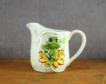 Neil the Frog Creamer By Sears, Ceramic, Lily Pad Texture, Made in Japan