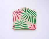 Green and Magenta Palm Leaf Leather Sunglasses Case