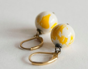 Sunny Sue - earrings with hand painted vintage beads