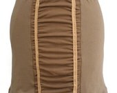 Soy / Certified Organic Cotton Mini Stretch Skirt Cocoa Chocolate Brown and Latte Tan Color with Ruching