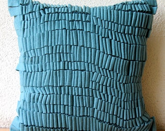 Decorative Throw Pillow Covers Accent Pillow Couch Pillows 20x20 Teal Suede Pillows Felt Embroidered Texturize Home Living Decor Houseware