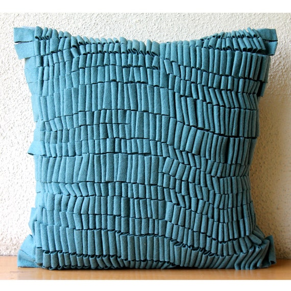 The HomeCentric Texturize  - 18x18 inches Square Decorative Throw Blue Felt Pillow Covers with Texture at Sears.com