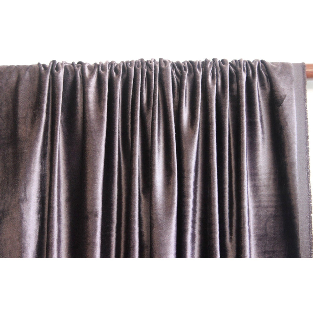 Dark Purple Grey Velvet Curtain 52x84 Rod Pocket