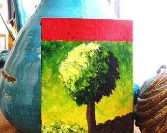 4x6 Original on Canvas Panel Modern Art Micro Art Small Art Green Tree Frame Ready Art Christmas Gift Art