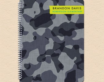Black & Gray Camouflage - Personalized, Custom Spiral Notebook