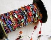 Jewel Rainbow satin Kite-tail Garland - novelty trim, wedding decor, party supply, silky trimming, vintage style ribbon -5 yards
