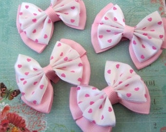 4 Pieces of  Grosgrain Ribbon Bows Free Shipping You Can Pick Your Colors