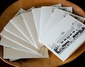 Custom House Portrait Pen and Ink Note Cards - Stationery - Linen Cards