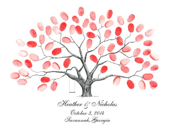 Fingerprint Tree Guestbook Poster / Baby Shower / Family Reunion / Anniversary / Wedding / First Communion / Thumbprint Tree