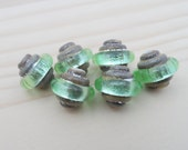 Lampwork Beads - Handmade Glass Beads - Organic Silver & Green