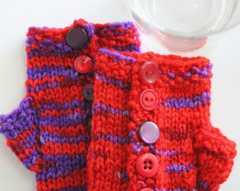 Hand dyed handknit fingerless mittens