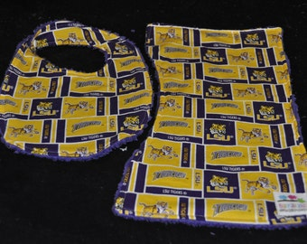 LSU Tigers  Bib and Burp cloth Set with Purple chenille backing
