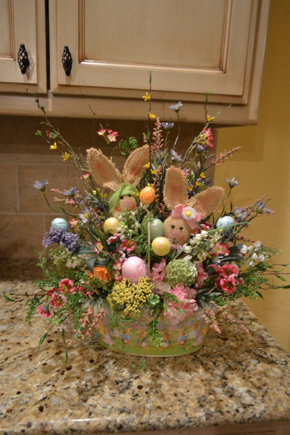 Metal easter basket with burlap bunnies for How to make easter decorations for the home
