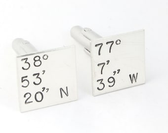 Latitude and Longitude Coordinates Cufflinks - Custom Sterling Silver Cuff Links - Father's Day Gift for Men