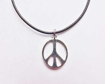 Peace Sign Charm Necklace silver pewter pendant made in USA chain or leather