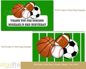 All Star Sports birthday party Printable Treat Bag Toppers - Sports theme, All-Star Birthday Favors Treat Bag Toppers